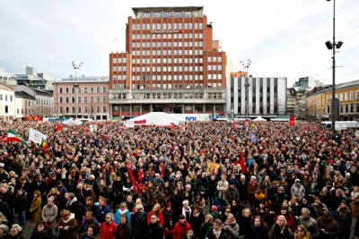 """An estimated 15,000 demonstrators filled a public square in Oslo on Saturday to protest the government's proposed changes to Norway's abortion law that were demanded by one of the government's support parties, the Christian Democrats. That """"support"""" has now turned into a major liability for the government, as major protests were also held elsewhere around the country. PHOTO: Marte Christensen / NTB Scanpix"""
