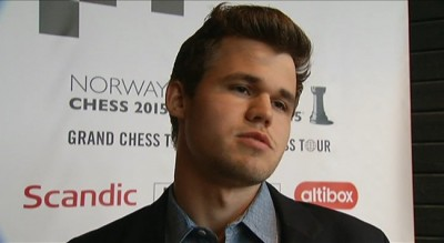 """Magnus Carlsen readily admitted to state broadcaster NRK and others after the match that he hadn't registered the rules. """"It's my fault, of course,"""" he told NRK. PHOTO: NRK screen grab"""