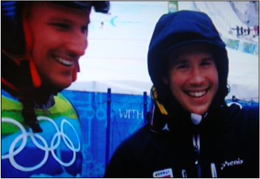All smiles: Svindal and Jansrud on Tuesday. PHOTO: NRK