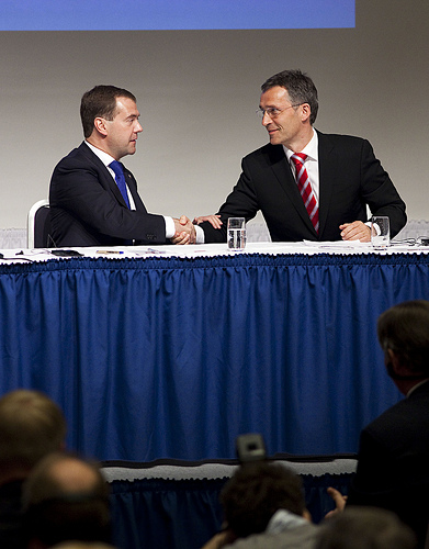 Russian President Dmitry Medvedev (left) and Prime Minister Jens Stoltenberg also met on Monday, at a seminar on business cooperation between Russia and Norway. PHOTO: Statsministerskontor/Per Thrana
