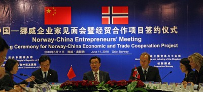 Trade Minister Trond Giske at a meeting on trade cooperation with his Chinese counterparts in Oslo in June. PHOTO: Næringsdepartementet