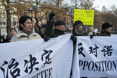 This group was unhappy the Peace Prize had been awarded to Liu Xiaobo. PHOTO: Views and News