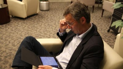 Prime Minister Jens Stoltenberg had just acquired an iPad before his unexpected European odyssey began last spring. He used it frequently, inadvertently announcing his whereabouts to would-be terrorists in the process. PHOTO: Statsministerenskontor (SMK)