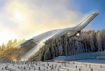 The Holmenkollen Ski Jump has had a rough time since it was rebuilt five years ago, with heavy losses and declining attendance at its annual ski festival. Things were looking up this year as events were getting underway on Friday. ILLUSTRATION: Oslo kommune