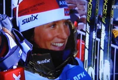 Marit Bjørgen, meanwhile, was all smiles during her interview with NRK after winning the women's sprint final. That got Norway off to a golden start in the Nordic world championships after all. PHOTO: NRK/Views and News