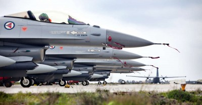 Norwegian fighter jets now stationed on Crete can soon take off for Libya. PHOTO: Forsvaret