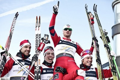 This is how Norwegian skiing officials prefer to see their gold medalist Petter Northug, like here when he and the relay team won during the world championships. PHOTO: Stian Broch/Oslo 2011