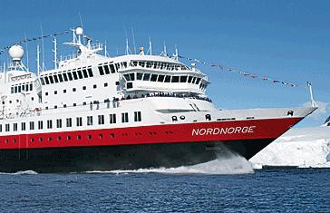 """The Hurtigruten ship """"Nord-Norge"""" in smoother seas. PHOTO: Hurtigruten"""