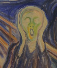 The smudge on another version of The Scream can be found just below the figure's right shoulder. PHOTO: Munch Museum