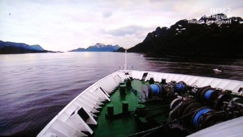"""Viewers were captivated by the constant coverage of the Hurtigruten ship """"MS Nord-Norge"""" as it made its way north along the scenic Norwegian coast. PHOTO: NRK/Views and News"""