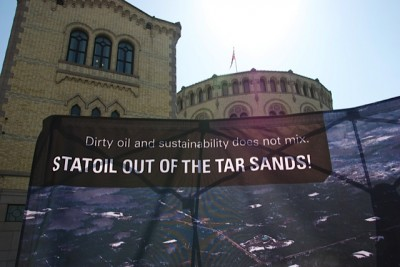 A recent protest against Statoil's oil sands project in Canada, in front of the Norwegian Parliament. PHOTO: Views and News