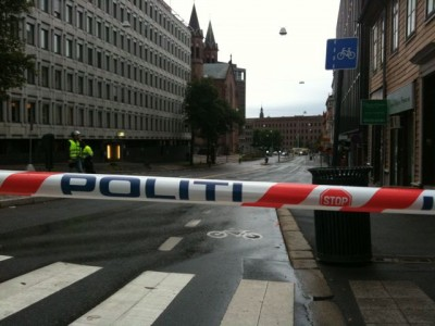Streets were cordoned off around the government complex in Oslo right after the attacks in July, but by then it was too late. PHOTO: Views and News