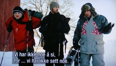 Steven Van Zandt (far right), wearing one of the old official ski jackets from the Winter Olympics in Lillehammer in 1994, in a scene from the show where he and his new Norwegian companions deny taking part in an illegal wolf hunt. PHOTO: NRK / Views and News