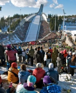 Skiing officials hope lots of folks turn out for this year's Holmenkollen Sunday, like here when the new ski jump was used for the first time in 2010. PHOTO: newsinenglish.no
