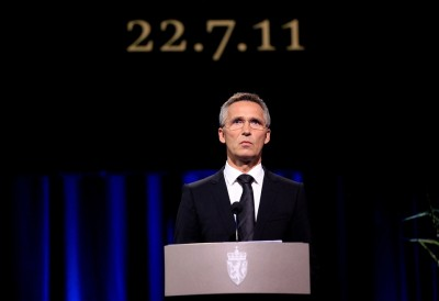 Prime Minister Jens Stoltenberg at the main memorial for victims of the terrorist attacks on July 22, 2011. PHOTO: Views and News