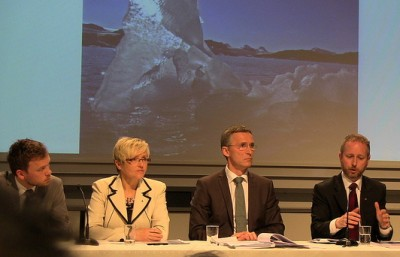Norway's government coalition presenting its long-awaited climate report on how it will cut carbon emissions. From left, new Socialist Left leader Audun Lysbakken, Center Party leader Liv Signe Navarsete, Prime Minister Jens Stoltenberg of the Labour Party and Bård Vegar Solhjell, environment minister from SV. PHOTO: Regjeringen.no