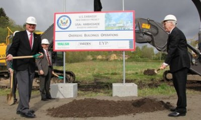Oslo Mayor Fabian Stang (left) and US Ambassador Barry White broke ground this week on a new US Embassy in Oslo after years of delays. PHOTO: US Embassy