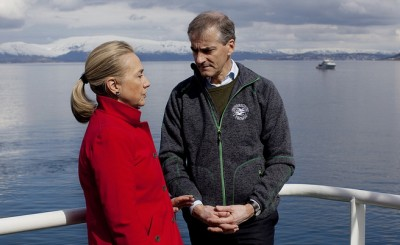 Støre has shown himself to be comfortable with a wide range of international leaders, such as here with former US Secretary of State, and US presidential candidate, Hillary Clinton in Tromsø in 2012. PHOTO: Utenriksdepartementet