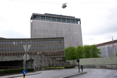 Memorials will also be held near the bombed government complext in downtown Oslo, where many of the damaged buildings remain covered in tarps and surrounded by a new security fence. PHOTO: Views and News