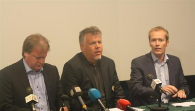 The men in charge of Norwegian football confronted the problem of match-fixing at a press conference on Sunday, five years after a national team match reportedly was fixed. From left: Yngve Hallen, Kjetil Siem and Svein Graff of The Football Association of Norway (Norges Fotballforbund, NFF). PHOTO: NFF/Christer Madsen