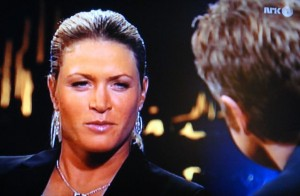 "Golfer Suzann Pettersen, during an appearance on the popular Swedish-Norwegian talk show ""Skavlan."" She'll be traveling home to Norway soon. PHOTO: NRK screen grab/Views and News"