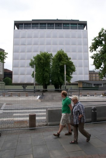 """The security fences around the bombed buildings in Norway's government complex, known as """"Regjeringskvartalet,"""" were removed earlier this month. The area will be the site of the first memorials to last year's terrorist attacks, starting at 9:30am on Sunday July 22. Other memorials will be held throughout the day, all over the country. PHOTO: Views and News"""