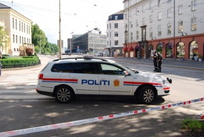 Police blocked off all streets around the US Embassy, which is seen at the center of the photo. It's located across the street from the park around the Royal Palace and the Norwegian Nobel Institute (yellow building at left). PHOTO: Views and News