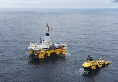 """Statoil has announced plans for more oil exploration in the Barents Sea, like that done here with the rig """"Polar Pioneer."""" PHOTO: Statoil/Harald Pettersen"""