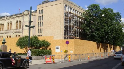 Norway's Parliament (Stortinget) has been undergoing construction to improve security this summer. PHOTO: Views and News