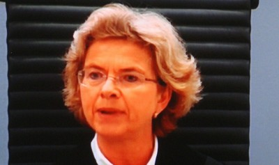As a city court judge, Wenche Elizabeth Arntzen had a no-nonsense approach while overseeing the trial of mass murderer Anders Behring Breivikg. Now she's been nominated as a Supreme Court justice. PHOTO: NRK screen grab/newsinenglish.no