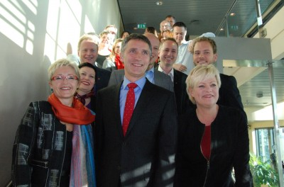 Prime Minister Jens Stoltenberg (center) still puts on a brave smile, as do top politicians from his coalition partners, but the government he leads is struggling to retain voter support. PHOTO: regjeringen.no