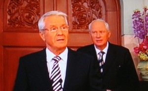 "Nobel Committee Secretary Geir Lundestad (right), shown here with committee chairman Thorbjørn Jagland, calls the decisions to avoid the Peace Prize ceremony ""provincial."" PHOTO: NRK screen grab/newsinenglish.no"