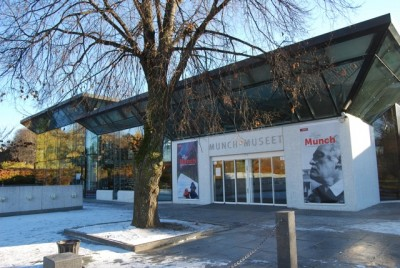 "Oslo's Munch Museum has long had support from Idemitsu Petroleum Norge, which, along with co-sponsor Flytoget, got a small credit at the bottom of the large poster to the right of the museum's entrance that promotes the current ""Modern Eye"" exhibit. PHOTO: newsinenglish.no"