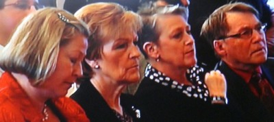 Members of the Norwegian Nobel Committee that unanimously awarded this year's Peace Prize to the EU listened intently to the EU leaders' own defense of the prize. From left: Kaci Kullmann Five, former government minister for the Conservative Party; Inger-Marie Ytterhorn, former Member of Parliament for the Progress Party; Berit Reiss-Andersen, president of the Norwegian Bar Association; and Gunnar Stålsett, former Bishop of Oslo who is sitting in for Ågot Valle, on sick leave. PHOTO: NRK screen grab/newsinenglish.no