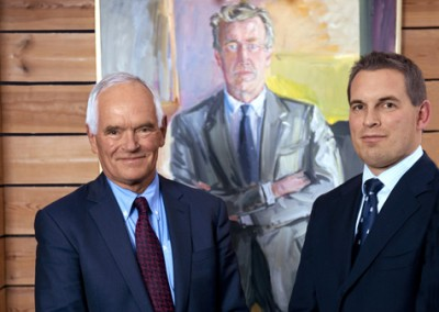 Frederik Wilhelm Mohn, right, pictured on the family firm's website with his father, philanthropist Trond Mohn, the wealthiest man in western Norway. PHOTO: Frank Mohn AS