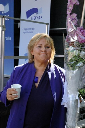 Høyre leader Erna Solberg, shown here campaigning during municipal elections in 2011, seems to be getting a taste of what it would be like to win the national elections, and become Norway's new prime minister. PHOTO: Høyre