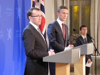 Prime Minister Jens Stoltenberg (center), shown here with Foreign Minister Espen Barth Eide during a weekend update on the hostage crisis, is coping with another terrorist attack that's directly affected Norwegians just 18 months after the attacks of July 22, 2011. PHOTO: Statsministerens kontor