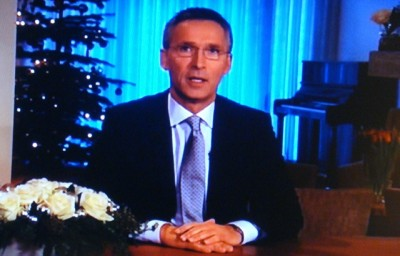 Prime Minister Jens Stoltenberg made what some commentators noted may be his last New Year's speech on national broadcaster NRK, given his government's poor showing in current public opinion polls. He didn't mention the upcoming national elections in September. PHOTO: NRK screen grab/newsinenglish.no