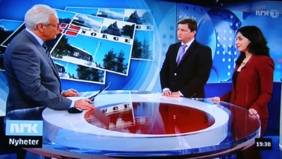 "Norwegian Broadcasting (NRK) has been among the major media picking up on the debate Christian Tybring-Gjedde of the Progress Party (center) started when he challenged new Culture Minister Hadia Tajik to define Norwegian culture. Here they're both appearing on NRK's nightly news program ""Dagsrevyen."" PHOTO: NRK screen grab/newsinenglish.no"