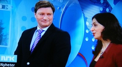 Politician Christian Tybring-Gjedde of the Progress Party (left) claims he didn't attack Culture Minister Hadia Tajik because she's a Muslim with immigrant parents. He just wants to know, he claimed, how she intends to protect Norwegian culture. Tajik responded that she'd like to know how he and his conservative party intend to do the same, since they're often proposing budget cuts for museums that do just that. PHOTO: NRK screen grab/newsinenglish.no