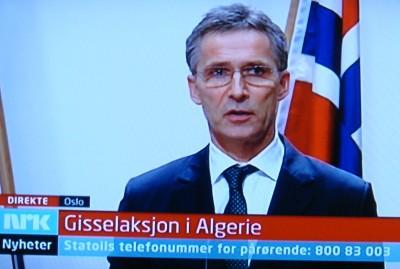 Prime Minister Jens Stoltenberg addressing the nation Wednesday evening on Norwegian Broadcasting (NRK), about a hostage crisis in Algeria involving 13 Norwegians. PHOTO: NRK screen grab/newsinenglish.no