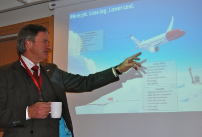 "Norwegian's CEO, a 66-year-old former fighter jet pilot, points to a long list of advantages he sees with his airline's orders for new Boeing 787 Dreamliner jets. He said he's not ""at all"" worried a few other airlines have had some problems with the Dreamliners. That's to be expected, he says, stressing the jets' fuel efficiency,  lower emissions, low maintenance and passenger comfort. PHOTO: newsinenglish.no"