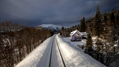 """Norwegian Broadcasting (NRK) has aired another popular program featuring the entire 10 hours of a ride on the northern train line known as """"Nordlandsbanen."""" The show attracted more than a million viewers when it was aired during the Christmas holidays. PHOTO: NRK"""