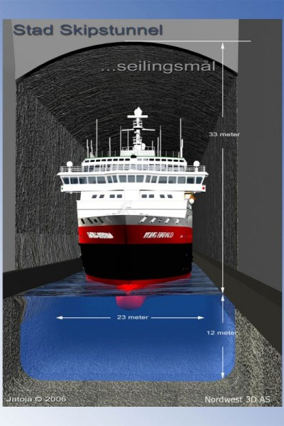 Civic boosters at Stad on Norway's northwest coast have long promoted the idea of a building a tunnel for ships, so they could avoid stormy seas around the West Cape. They're not giving up. PHOTO: skipstunnel.no
