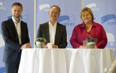 Høyre's leaders (from right) Erna Solberg, Jan Tore Sanner and Bent Høie are proposing cuts in Norway's unpopular fortune tax that are surprisingly large. PHOTO: Høyre/Tomas Moss, icu.no
