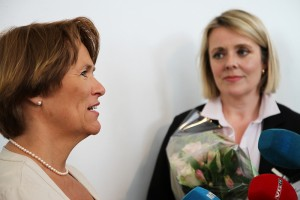 Marie Benedicte Bjørnland (right) was appointed as the new boss of PST last year by Justice Minister Grete Faremo (left), and now refutes a government commission's criticism of PST operations. PHOTO: Justisdepartementet