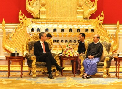Myanmar's President Thein Sein won't be hosted in such lavish surroundings as those where he received Stoltenberg in the controversial capital built by the military junta. He will instead be treated to Norway's more modest style. PHOTO: Utenriksdepartementet