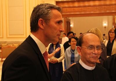 Norwegian Prime Minister Jens Stoltenberg visited Myanmar and its reform-minded president Thein Sein last autumn. Now Thein Sein is in Norway. PHOTO: Utenriksdepartementet