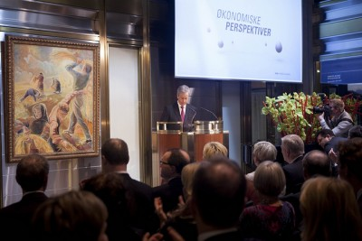 Øystein Olsen, governor of Norway's central bank, issued more warnings during his annual address Thursday evening, even though Norway's economy continues to be among the strongest in the world. PHOTO: Norges Bank/Ståle Andersen