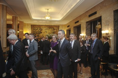 Everyone headed for the Grand Hotel after the annual speech by the governor of Norway's central bank, for dinner, drinks and powerful mingling. PHOTO: Norges Bank/Ståle Andersen